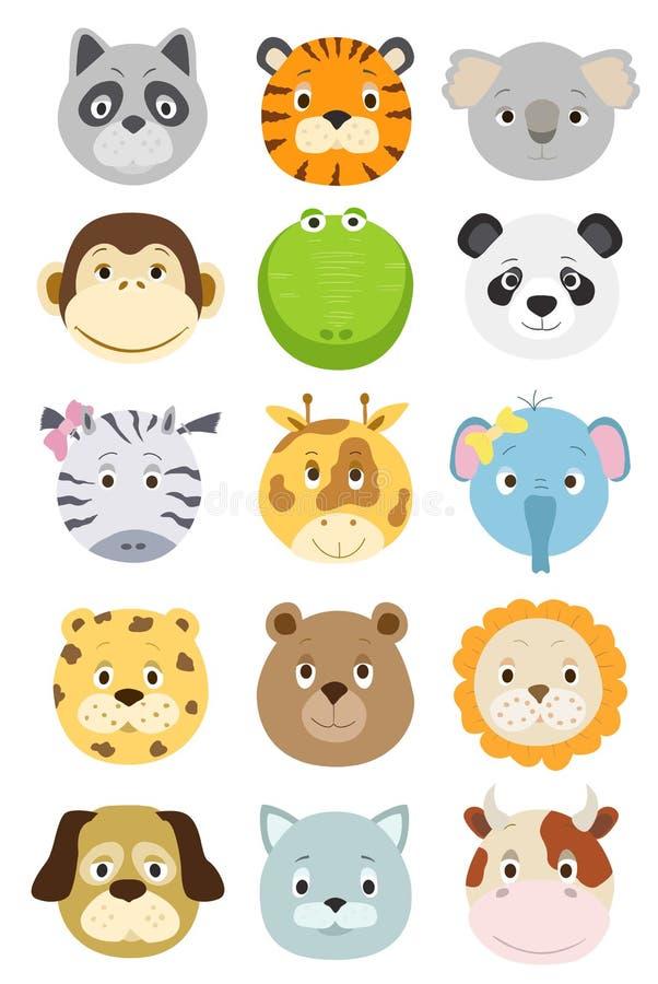 被设置的逗人喜爱的动画片动物面孔 皇族释放例证