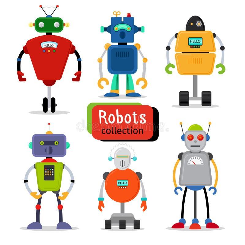 被设置的逗人喜爱的动画片机器人 向量例证