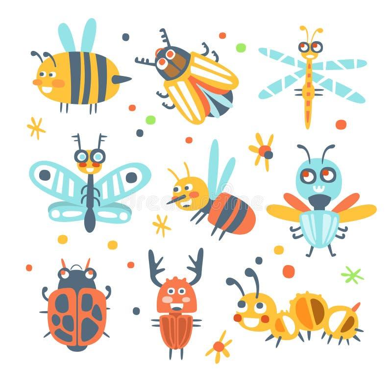 被设置的逗人喜爱的动画片臭虫 滑稽的昆虫五颜六色的漫画人物 皇族释放例证