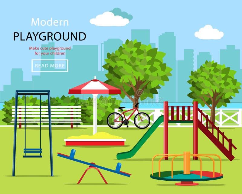 被设置的逗人喜爱的图表儿童操场:摇摆、儿童` s幻灯片、转盘、沙盒、长凳、自行车、树和城市背景 皇族释放例证