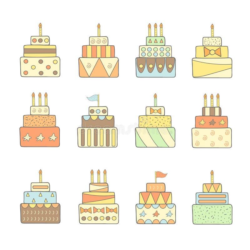 被设置的逗人喜爱的手拉的乱画蛋糕 皇族释放例证