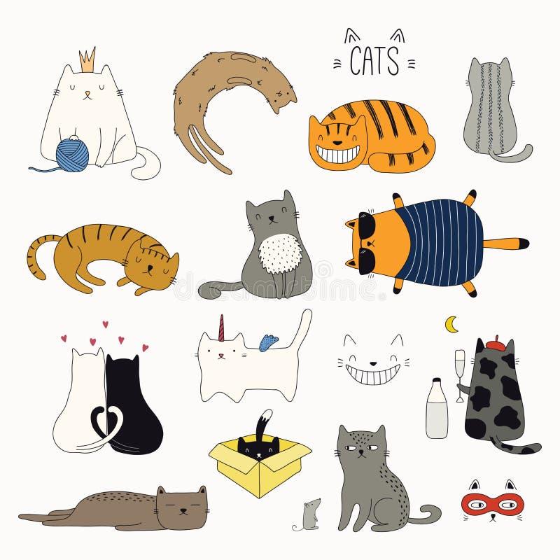 被设置的逗人喜爱的猫乱画 库存例证