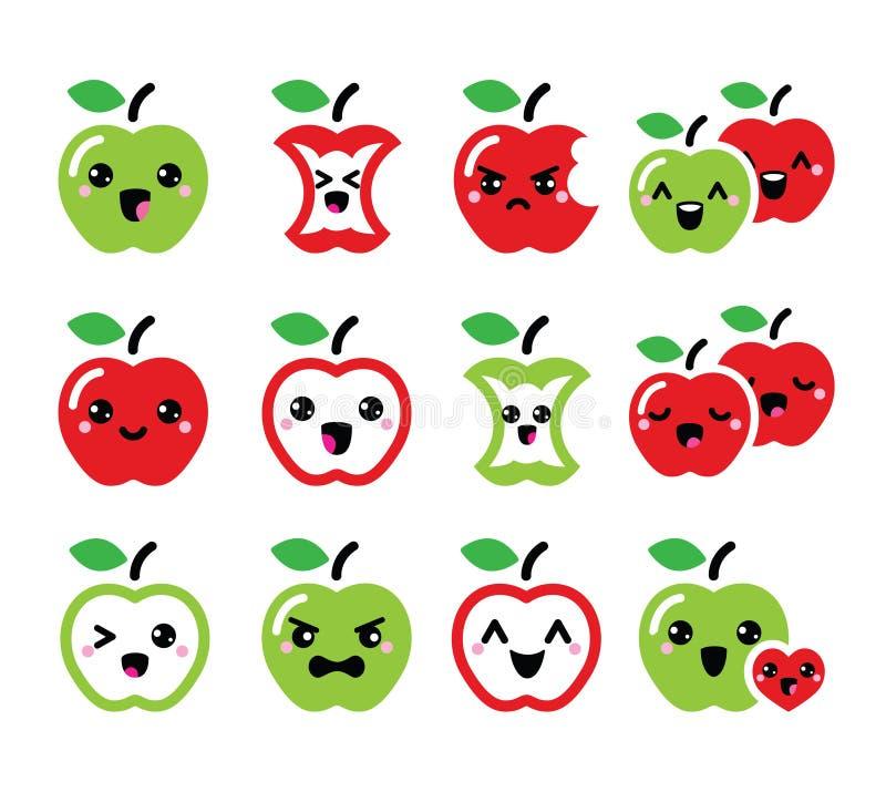 被设置的逗人喜爱的红色苹果和绿色苹果kawaii象 向量例证