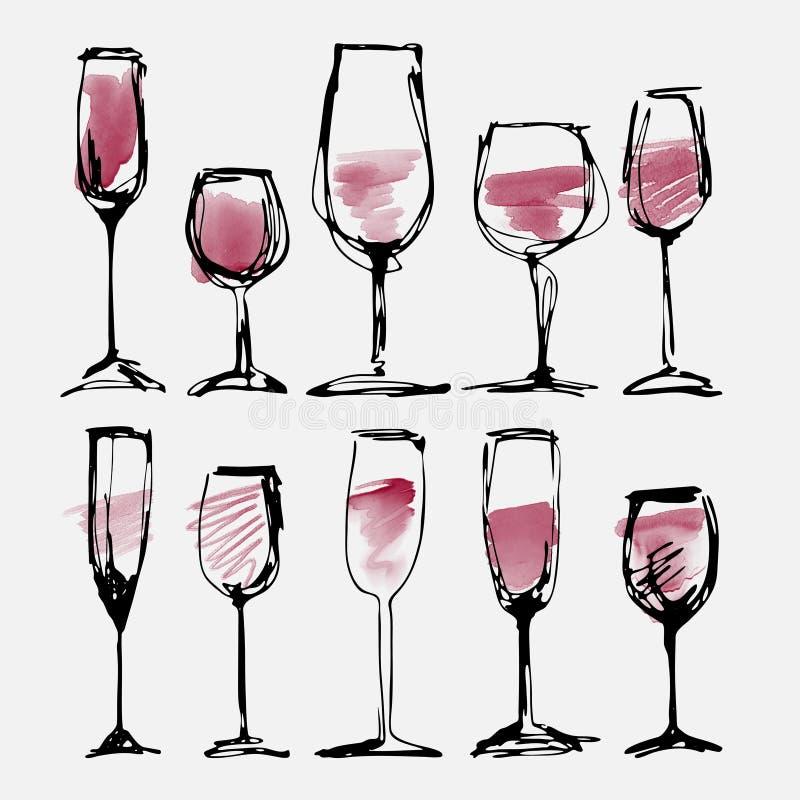 被设置的酒杯-汇集速写了水彩葡萄酒杯和剪影 皇族释放例证