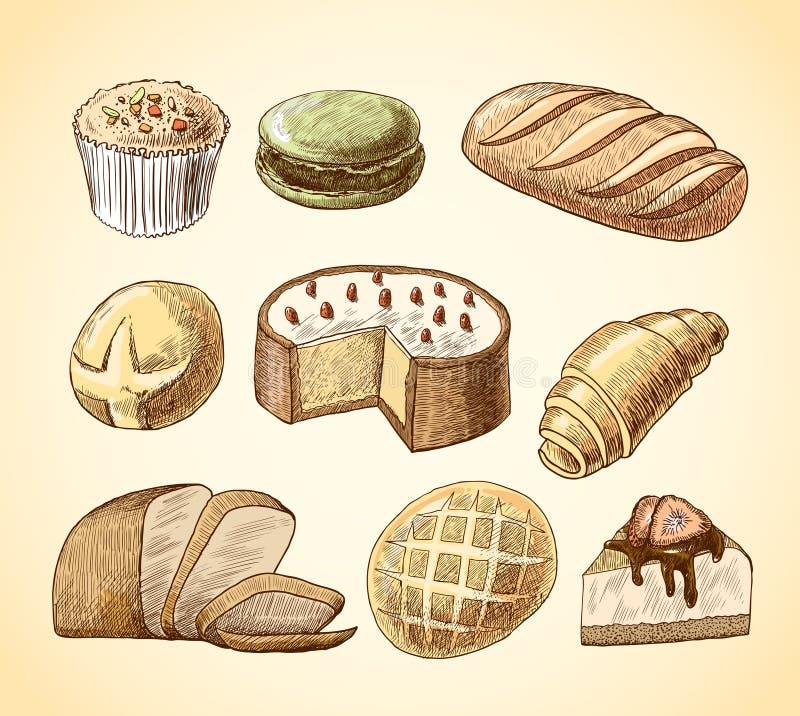 被设置的酥皮点心和面包装饰象 库存例证