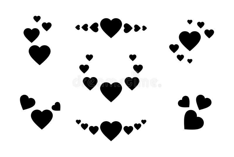 被设置的重点图标 心脏的标志用不同的位置 在白色隔绝的贺卡的传染媒介浪漫集合 向量例证