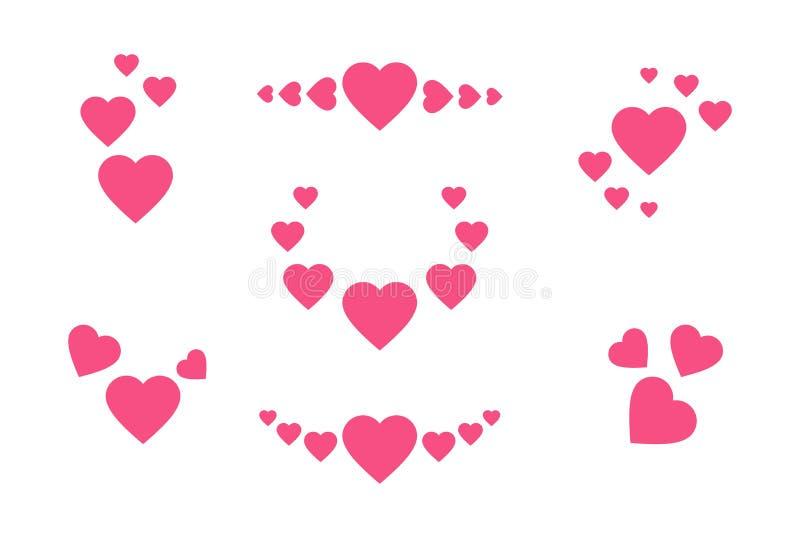 被设置的重点图标 桃红色心脏的标志用不同的位置 在白色隔绝的贺卡的传染媒介浪漫集合 皇族释放例证