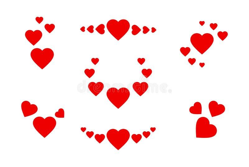 被设置的重点图标 红心的标志用不同的位置 在白色隔绝的贺卡的传染媒介浪漫集合 皇族释放例证