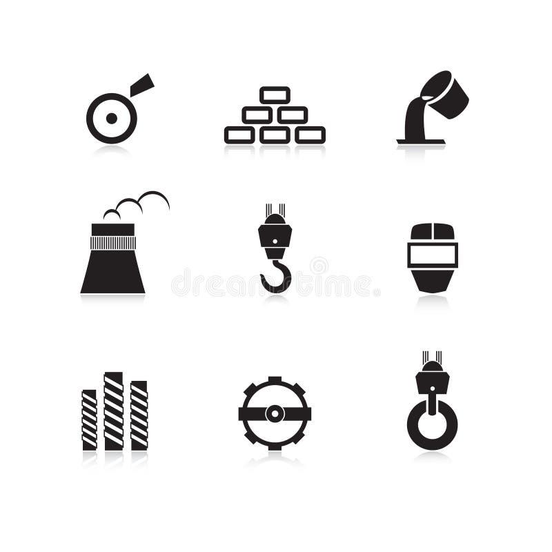 被设置的金属工业图标 皇族释放例证