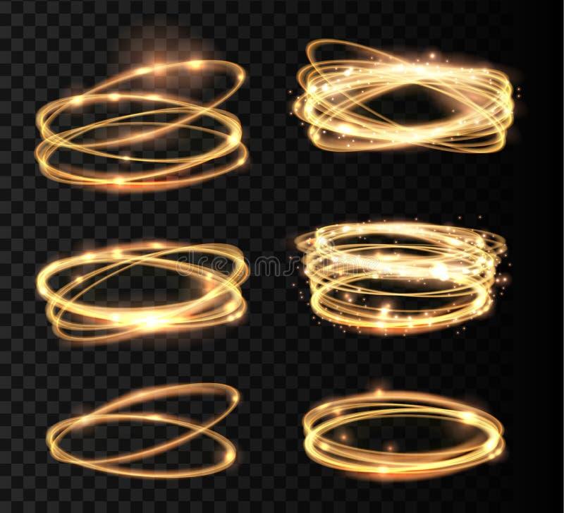 被设置的金黄发光的发光的螺旋线和圈子光线影响 摘要发光的轻的火圆环踪影 向量例证