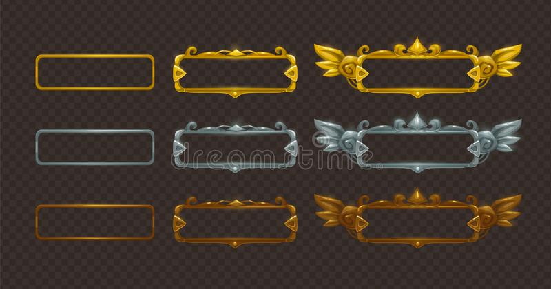 被设置的金黄,银色和古铜色框架 库存例证