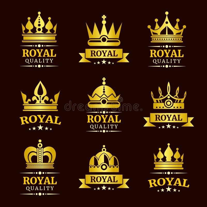 被设置的金黄皇家质量传染媒介冠商标模板 皇族释放例证
