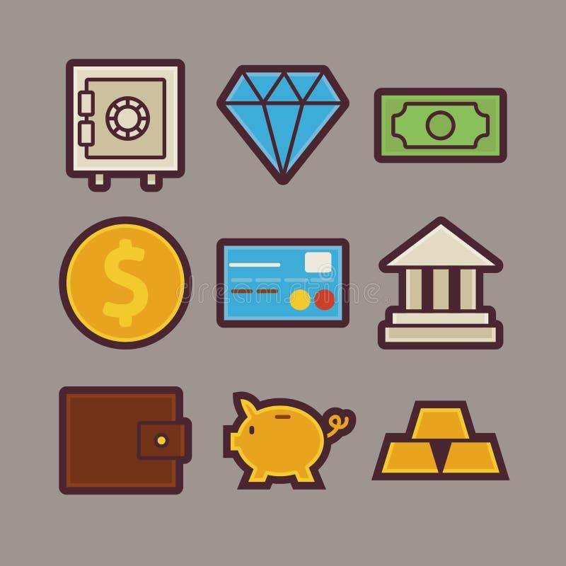 被设置的银行和金钱项目现代平的象 皇族释放例证
