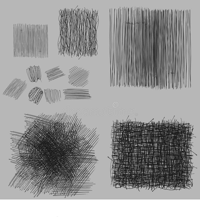 被设置的难看的东西概略的孵化图画纹理 也corel凹道例证向量 皇族释放例证