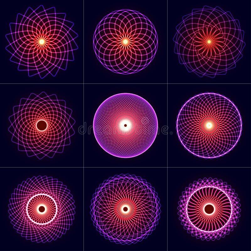 被设置的霓虹焕发对称元素 神圣的几何 平衡和和谐圈子  抽象荧光的传染媒介背景 皇族释放例证