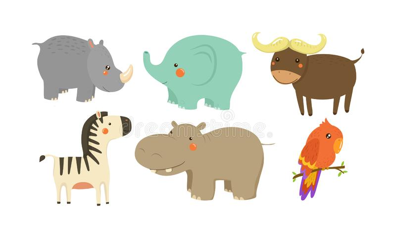 被设置的非洲动物 可爱的卡通人物 野生生物题材 儿童图书的平的传染媒介元素 皇族释放例证