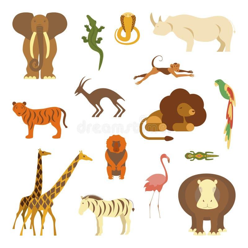 被设置的非洲动物 库存例证