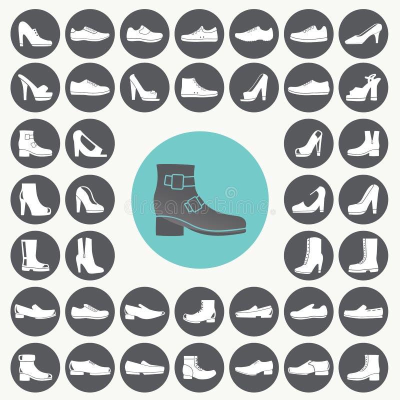 被设置的鞋子象 库存例证