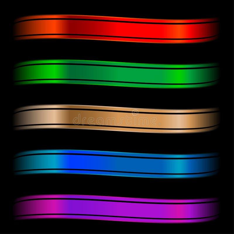 被设置的颜色光滑的丝带 库存例证