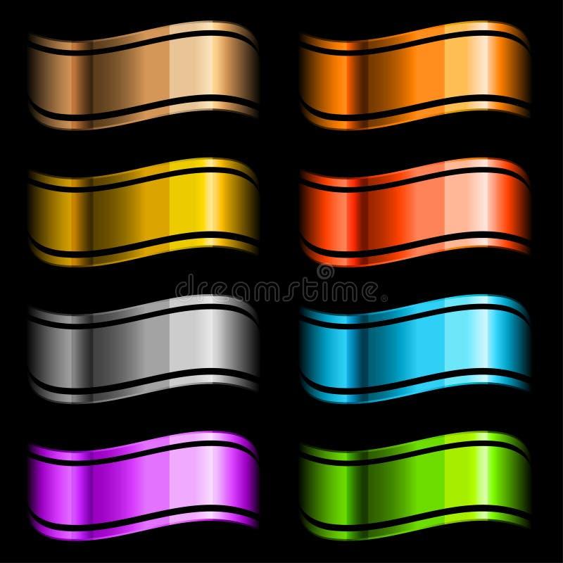 被设置的颜色光滑的丝带 向量例证