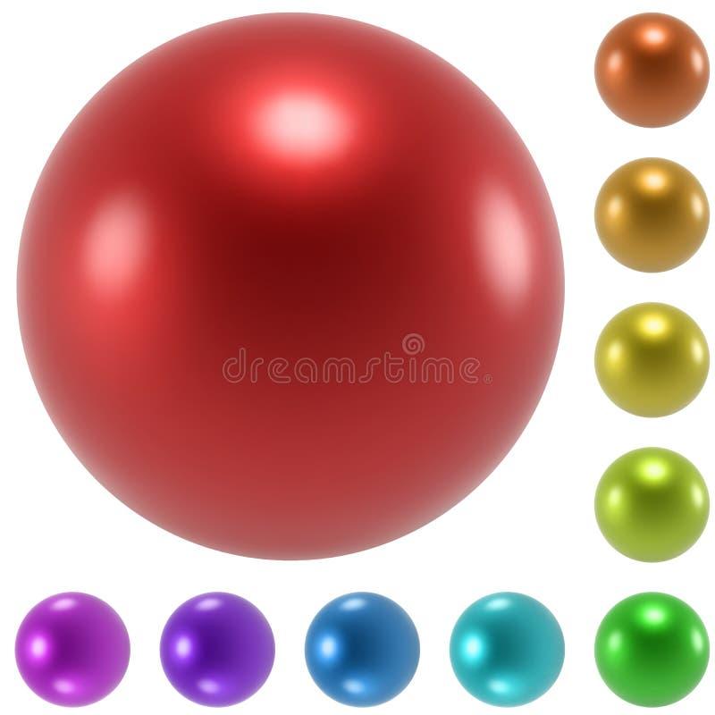 被设置的颜色光滑的球形 皇族释放例证