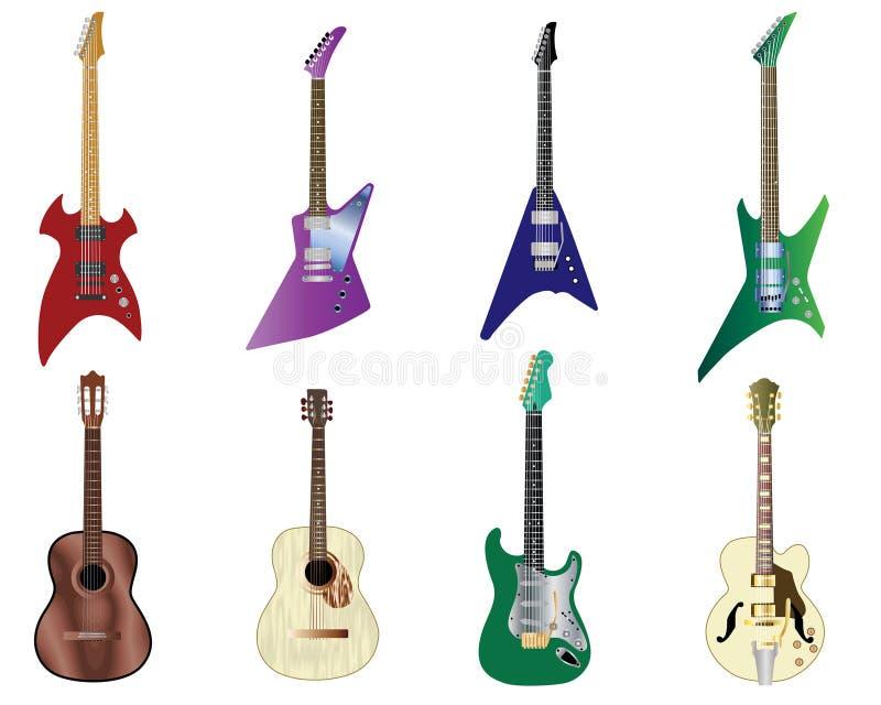 被设置的颜色吉他 皇族释放例证