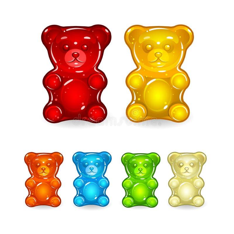 被设置的颜色透明果冻熊 向量例证