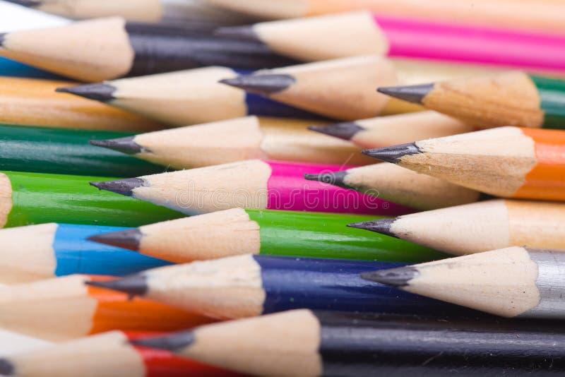 被设置的颜色铅笔 免版税库存照片