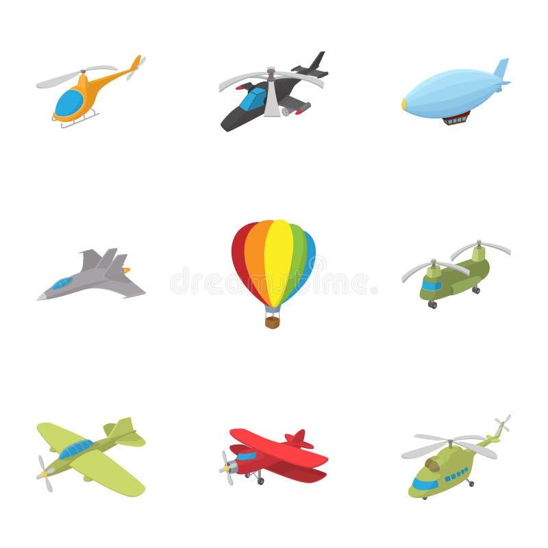 被设置的飞行器象,动画片样式 皇族释放例证