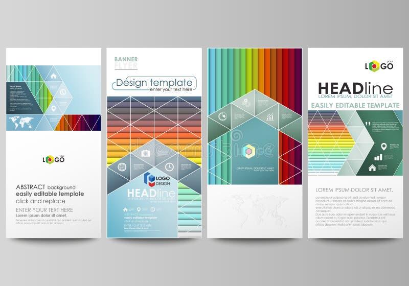 被设置的飞行物,现代横幅 企业总公司例证样式模板 平的样式传染媒介布局 明亮的颜色长方形,五颜六色的设计 向量例证