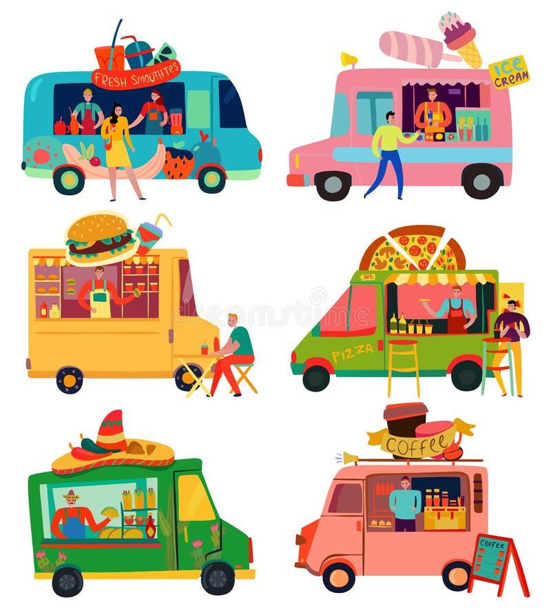 被设置的食物卡车 向量例证