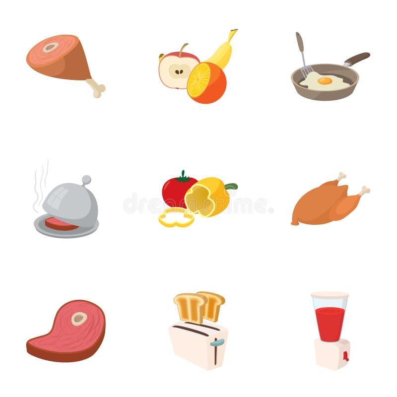 被设置的食物象,动画片样式 库存例证