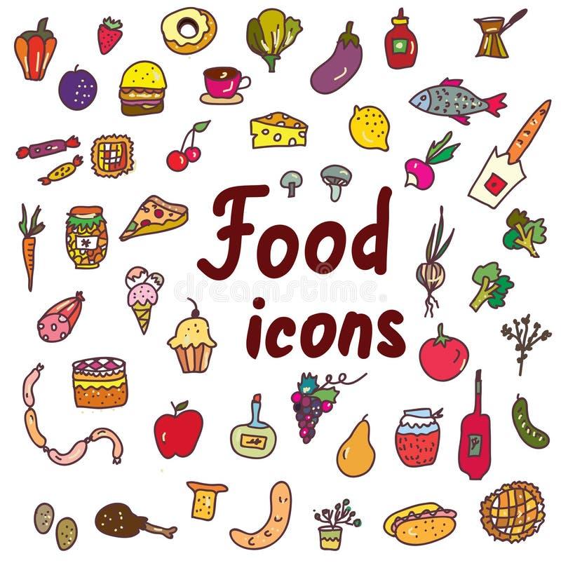 被设置的食物象-手拉的设计 库存例证
