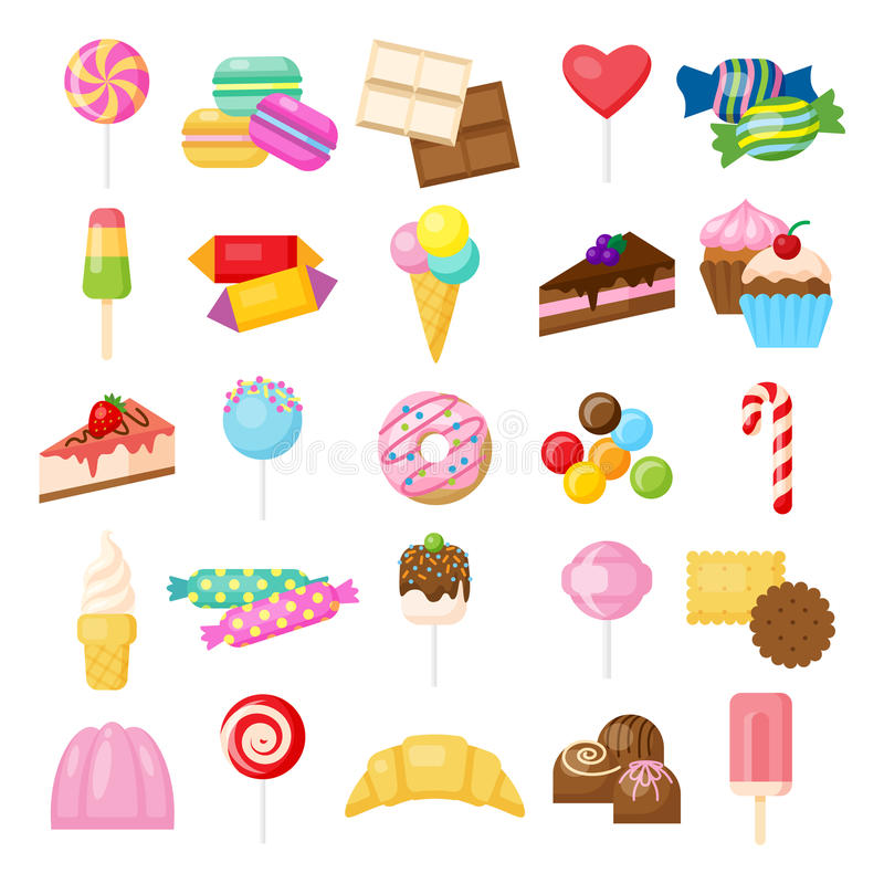 被设置的鲜美甜点 向量例证