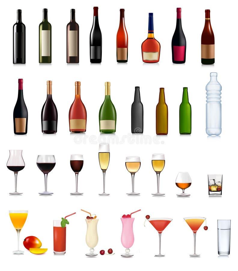 被设置的鸡尾酒不同的饮料 皇族释放例证