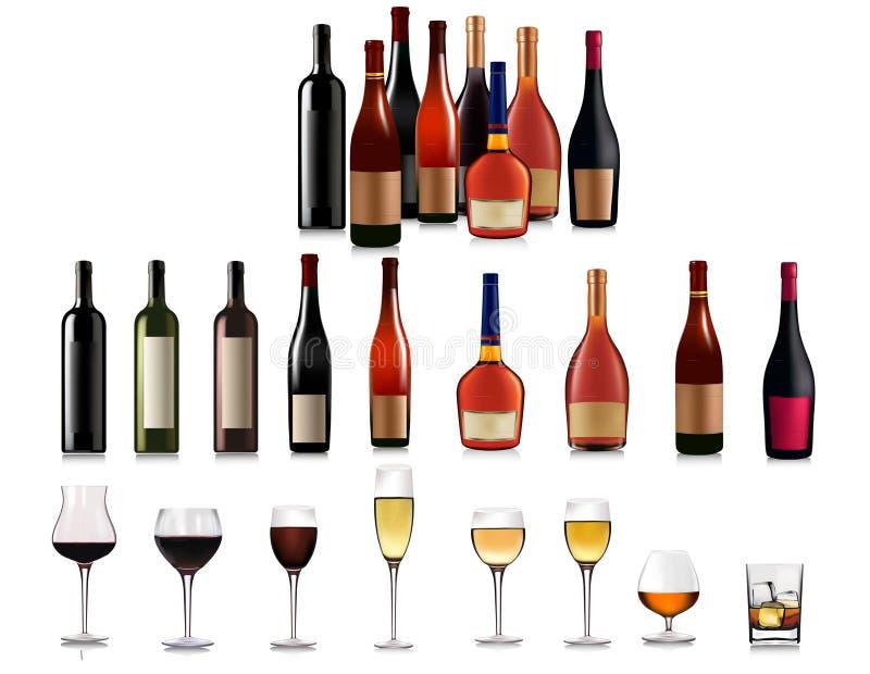 被设置的鸡尾酒不同的饮料 向量例证