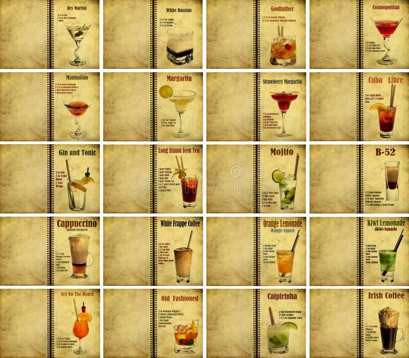被设置的鸡尾酒食谱 库存照片