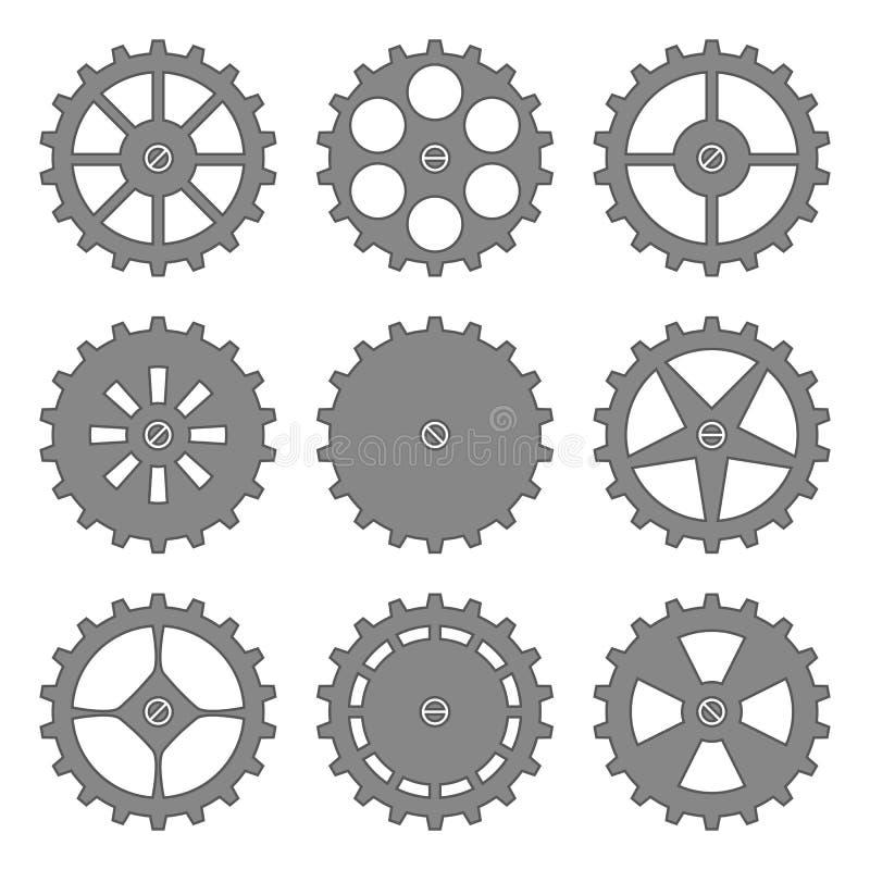 被设置的齿轮和嵌齿轮 皇族释放例证