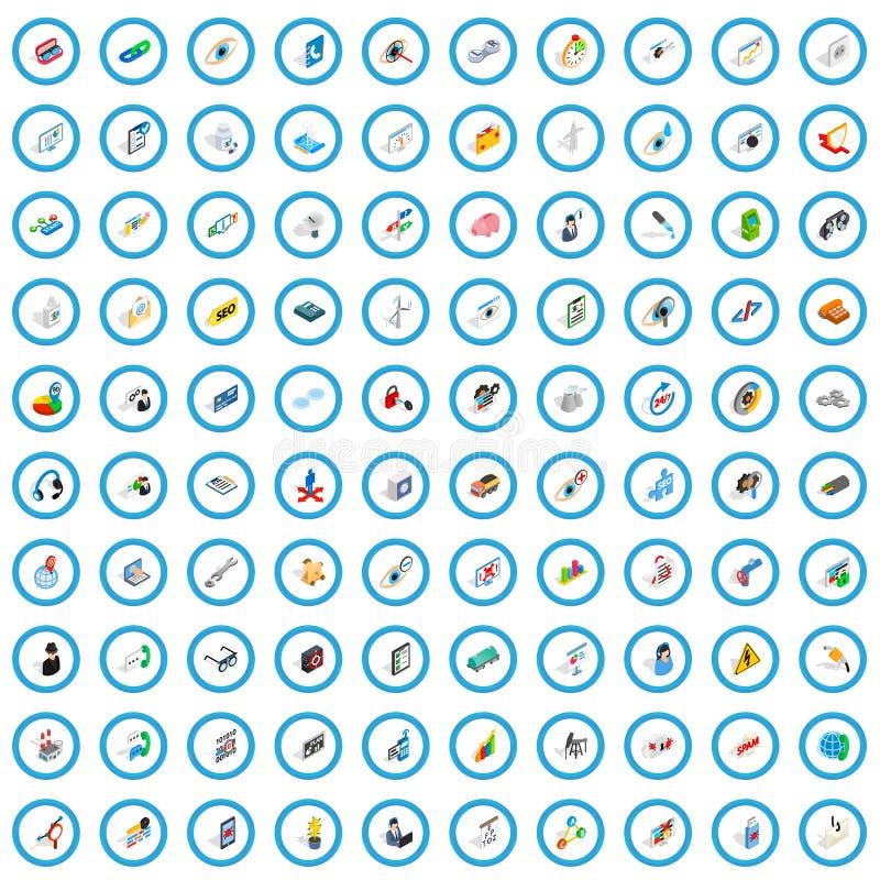 被设置的100个主要象,等量3d样式 皇族释放例证