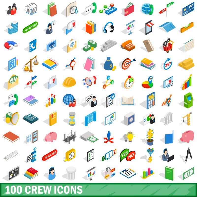 被设置的100个乘员组象,等量3d样式 库存例证