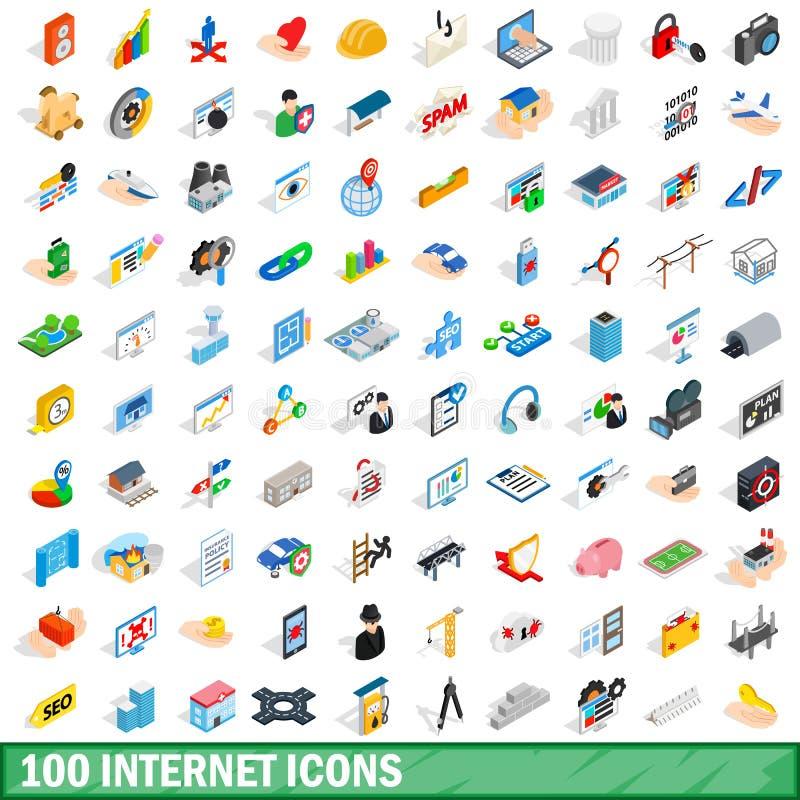 被设置的100个互联网象,等量3d样式 皇族释放例证