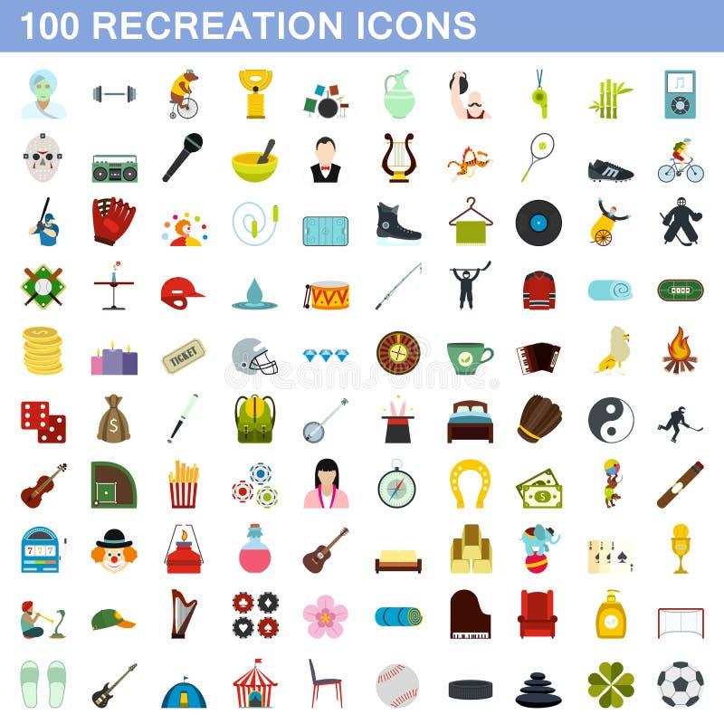 被设置的100个休闲象,平的样式 向量例证