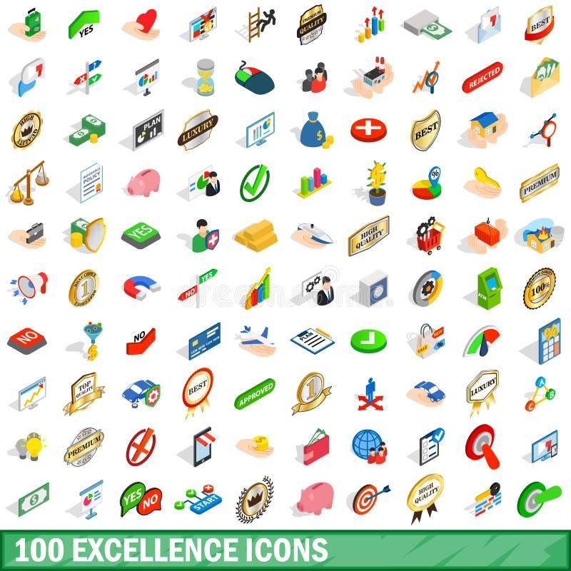 被设置的100个优秀象,等量3d样式 向量例证