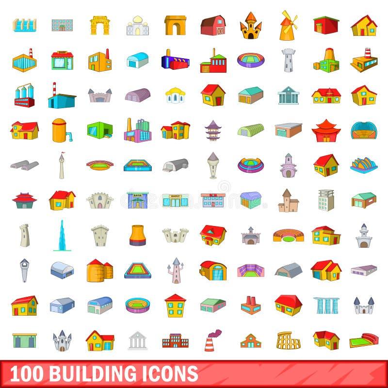 被设置的100个修造的象,动画片样式 向量例证