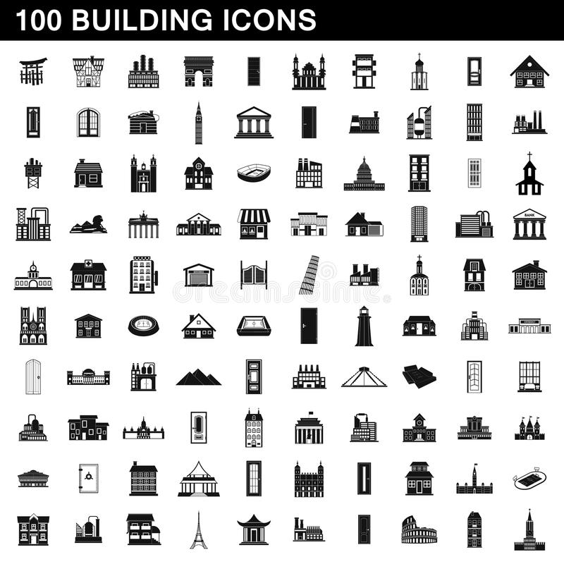 被设置的100个修造的象,简单的样式 向量例证