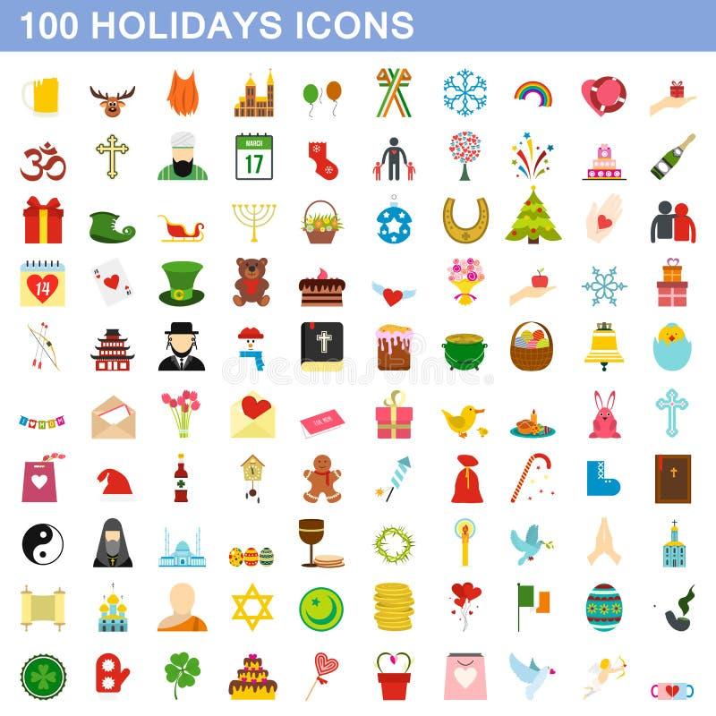 被设置的100个假日象,平的样式 库存例证