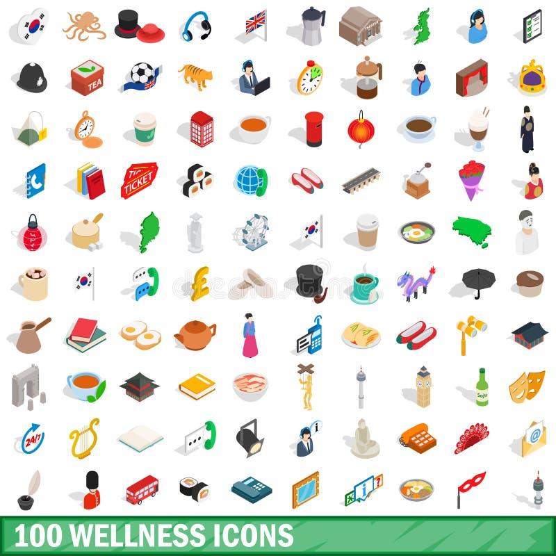 被设置的100个健康象,等量3d样式 库存例证