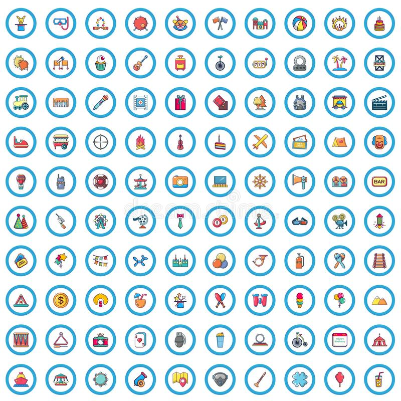 被设置的100个党时间象,动画片样式 向量例证