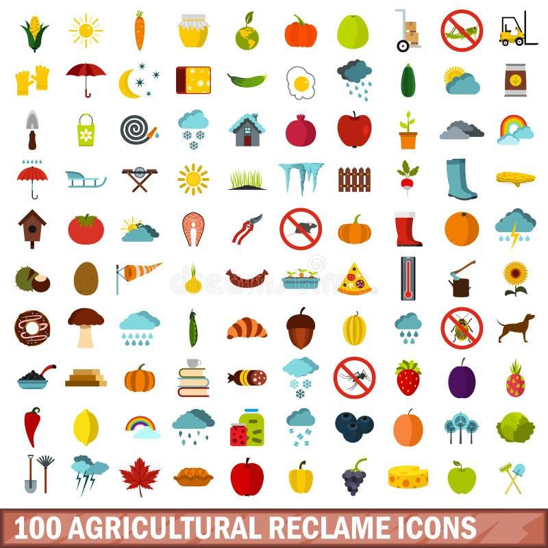 被设置的100个农业reclame象,平的样式 库存例证