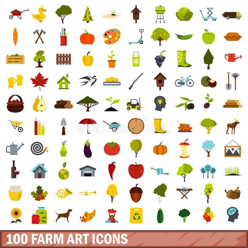 被设置的100个农厂艺术象,平的样式 皇族释放例证
